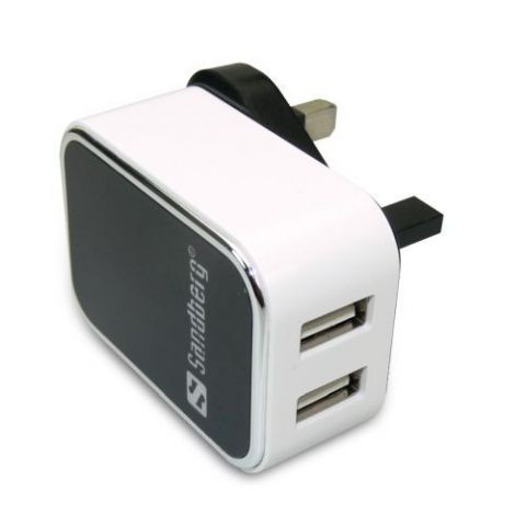 Sandberg 3-pin Plug USB Charger, 2 x USB Ports, 5 Year Warranty